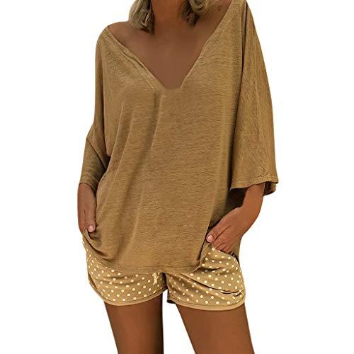 Women V Neck Boho Vintage Shirt Caftan Beach Cover Plus Size Hippie Baggy Tops Blouse Khaki