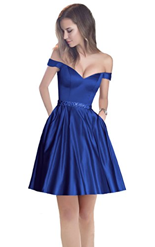 Harsuccting Off The Shoulder Beaded Satin Short Cocktail Homecoming Dress With Pocket Royal Blue (Beaded Short Dress Cocktail Dress)