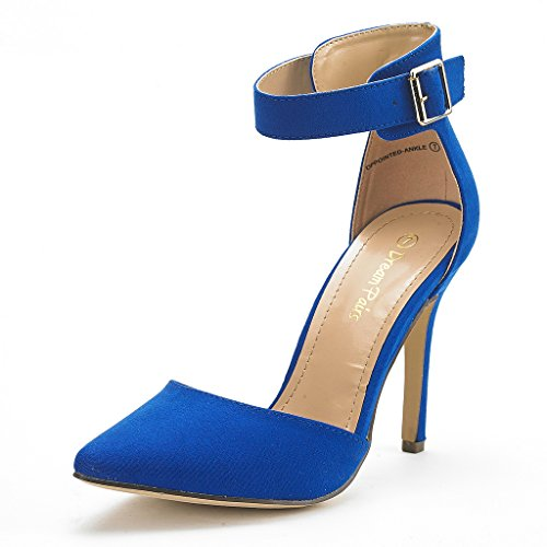 Stiletto Heel Pumps High - DREAM PAIRS Oppointed-Ankle Women's Pointed Toe Ankle Strap D'Orsay High Heel Stiletto Pumps Shoes Royal Blue-SZ-7.5