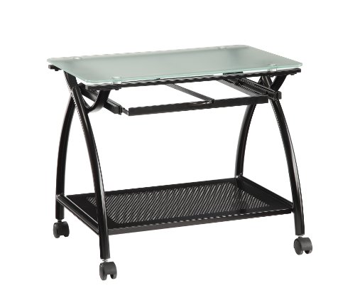 Top File Mobile (OSP Designs Office Star Newport Black Powder Coated Steel Frame Mobile File Holder with Frosted Tempered Glass Top)
