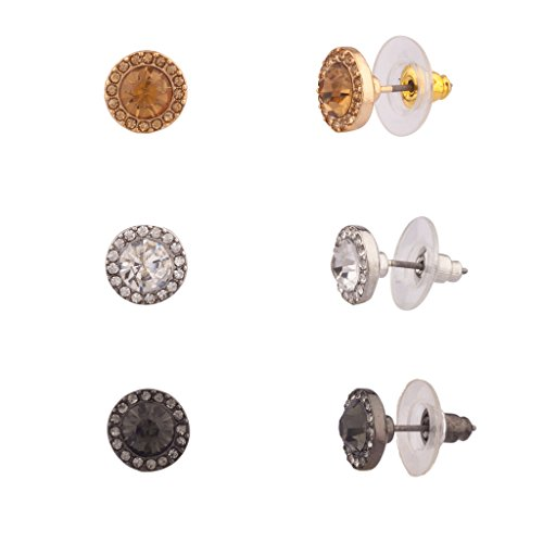 Lux Accessories - Ensemble Boutons D'Oreilles Women'S Girls & Kids Pavé Disque Cristal.