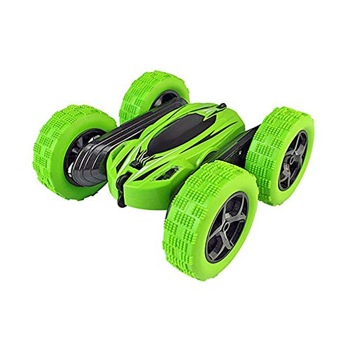 ライト付きYDJ 828両面スタントカー1:24クールなローリング360度回転する子供スタントのおもちゃ(緑)