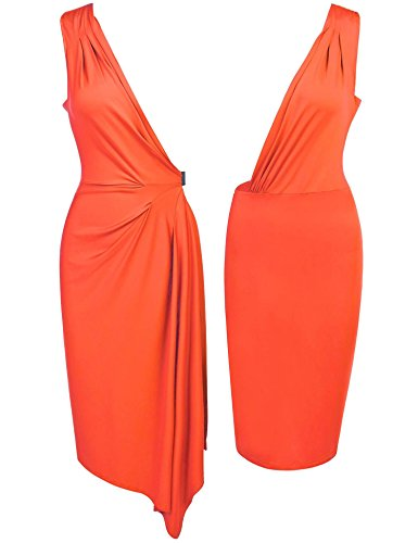 Sleeveless Orange Belt Women's Elastic Tunic Dress Cocktail V Side Neck Pleated ANGVNS qHnCwBBd