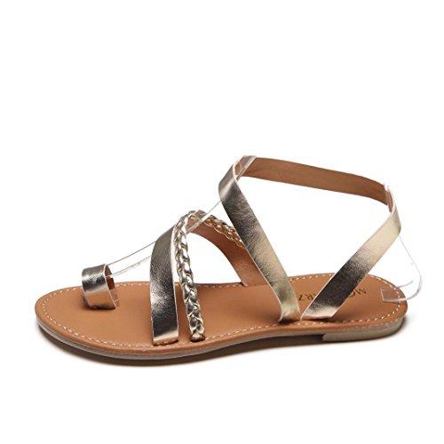 Oro Verano Romana De con Sandalias Plata De Chanclas Y Mujer Mujer Tacón EN Sandalias Zapatos Cómodo Playa Planas Bajo Punta Plano Cruz OHQ Oro De Elegante x7Tnzfz