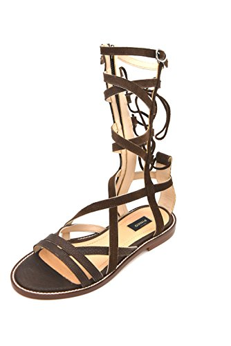 PINKO WOMAN GLADIATOR SANDAL SHOES SUEDE PYTHON LEATHER CODE 1W2033 Y2MX LECCE1 40 MARRONE BROWN A0A6aJx