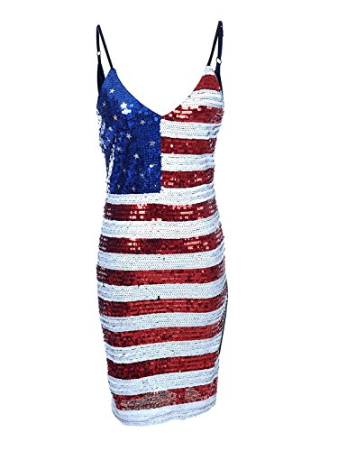 Anna-Kaci-Womens-USA-Flag-Patriotic-Sequin-Bodycon-Strap-Long-Shirt-Tank-Top