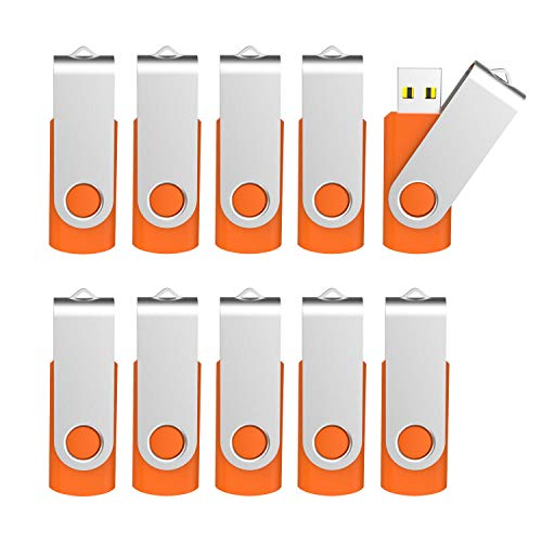 Kootion 10 Pack 2GB Flash Drive 2gb USB Flash Drive Thumb Drive Memory Stick Swivel Pen Drive Keychain Design Orange (Keychain Linux)
