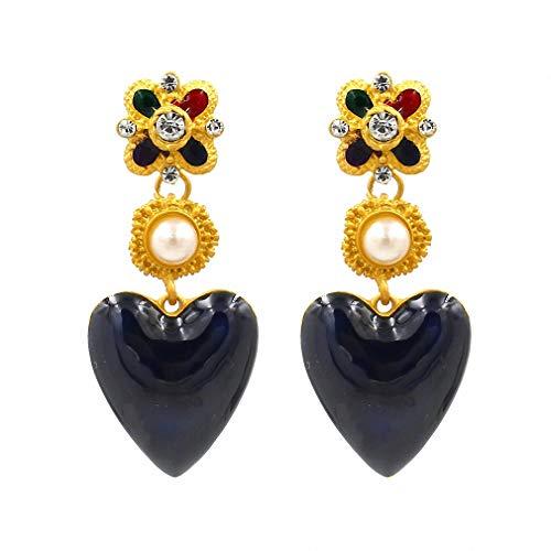 Heart Dangle Earrings Women Charm Simulated Pearl Wedding Enamel Drop Earrings Statement Jewelry 1