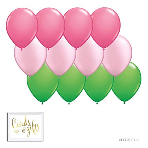 Andaz Press 11-inch Balloon Trio Party Kit with Gold Cards & Gifts Sign, Rose Pink, Blush Pink, Kiwi Green, 12-Pack, Watermelon, Hawaiian Luau, Tropical, Theme Supplies, Fill with Air or ()