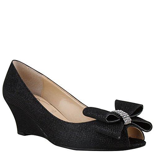 [J. Renee Women's Blare Open Toe Wedge,Black Harlequin Glitter fabric,US 6.5 M] (Womens Harlequin Shoes)