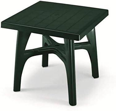 Mesa cuadrado para exterior desmontable, mesa resina 80 x 80, mesa para jardín verde oscuro: Amazon.es: Hogar