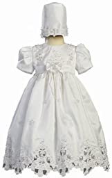 White Shantung Christening Baptism Dress with Cutwork Accents and Bonnet - L (9-12 Month)