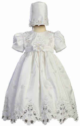White Shantung Christening Baptism Dress with Cutwork Accents and Bonnet - M (6-9 Month)