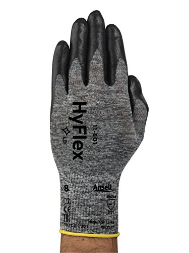 Ansell HyFlex 11-801 Nylon Glove, Black Foam Nitrile Coating, Knit Wrist Cuff, Large, Size 9 (Pack of 12) by Ansell (Image #2)