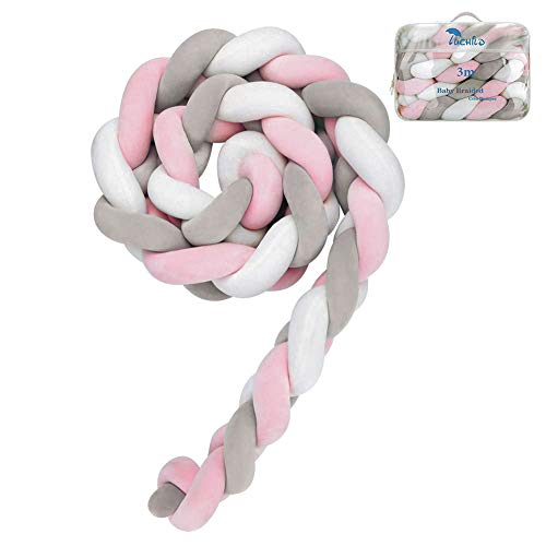 Luchild Baby Braided Crib Bumper Soft Snake Pillow Protective & Decorative Long Baby Nursery Bedding Cushion Knot Plush Pillow for Toddler Newborn-Gray+White+Pink from Luchild