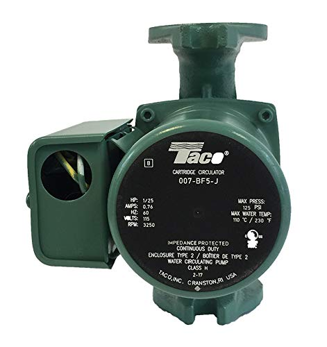 Taco 007 BF5-J Circulating Pump with Bronze Cartridge for longer life then standard 007-F5