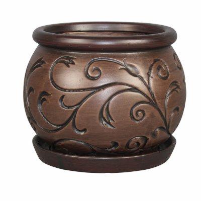 ATT SOUTHERN CRM-030706 Urn Planter With Saucer, Ivy/Espresso Ceramic, 6-In. - Quantity 2