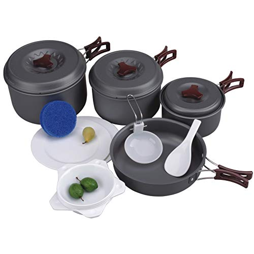 AceCamp Hard-Anodized Portable Camping Cookware Set, Stackable Nonstick Aluminum Cooking Mess Kit, Lightweight Family Pots, Pans, Cups, Bowls & More with Mesh Carrying Bag (Large - 4-5 Person Set) ()