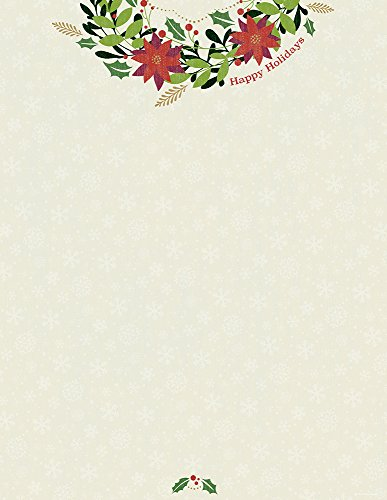 Happy Holidays Wreath - Great Papers! Happy Holiday Wreath Letterhead, 80 count, 11