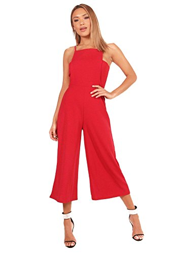 Damen rot Grace Square Neck Culotte Jumpsuit Rot 78U5bx