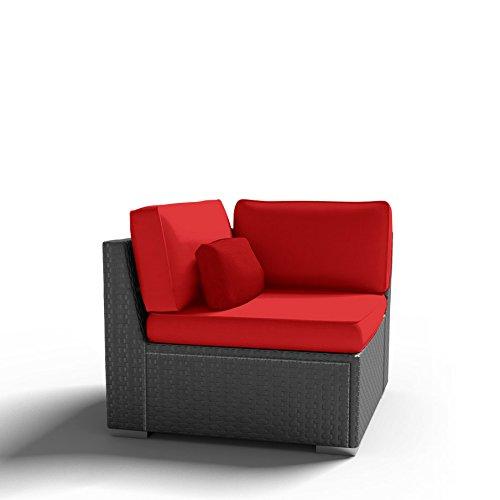 Modenzi C-U (Left) Corner Chair Outdoor Patio Furniture Espresso Brown Wicker (Red) (Corner Patio Furniture)