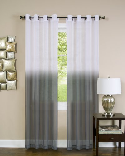 Achim Home Furnishings Essense Grommet Window Curtain Panel, Charcoal, 52 x 84-Inch
