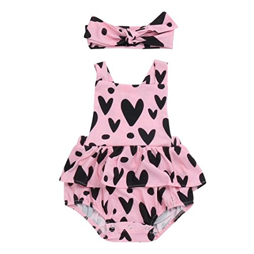 Coper Cute Outfit, Baby Girl Heart Print Backless Romper Jumpsuit+headband (6 Months)