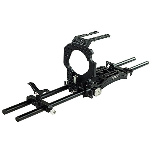 CAMTREE Hunt Professional CNC Aluminum Camera Cage for Sony PXW-FS7 with Shoulder Support Pad, Top/Base Plate, Lens Support & 15mm Rail Rod System (CH-FS7-C)