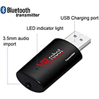 VR-robot 3.5mm Portable Stereo Audio, Wireless Bluetooth Transmitter, for TV, iPod, MP3/MP4,USB Power Supply(Black)