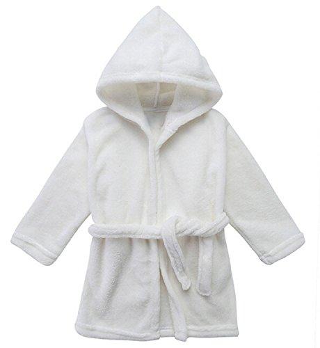 Toddler Unisex Baby Robe Hooded Fleece Bathrobe and Towel for Kids White 24-36M XL