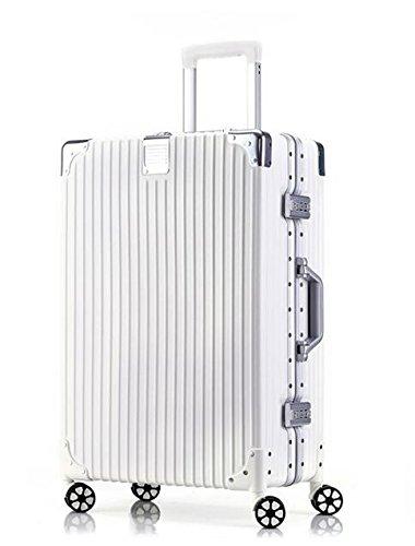 (アスボーグ)ASVOGUE スーツケース キャリーケース TSAロック 半鏡面仕上げ アライン加工 アルミフレーム レトロ 旅行 出張 軽量 静音 ファスナーレス 機内持込可 保護カバー付き B07B7JW212 2XL|ホワイト ホワイト 2XL