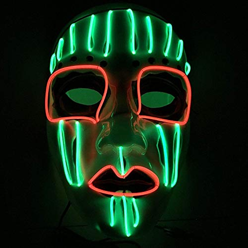 TECHLINK Horror Party Mask Light up Purge Mask Glowing Masks LED Cold Light Mask Scary Masquerade Party Creative Style Cosplay Creepy Costume Decoration -