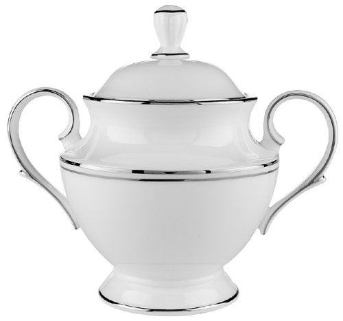Lenox Federal Platinum Bone China Sugar Bowl with Lid Fine China Covered Sugar Bowl