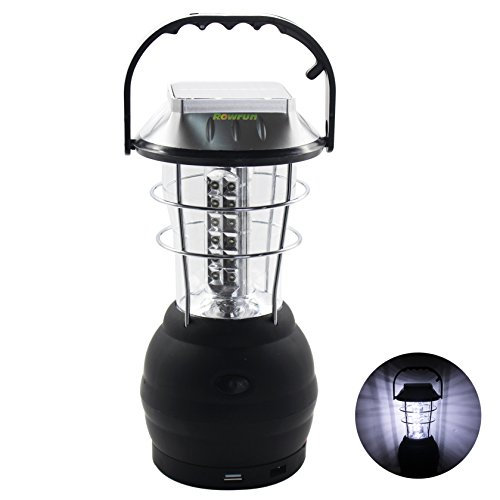 Rowrun Solar Lantern 6 Mode 36 LED Hand Crank Dynamo Rechargeable Camping Lantern for Hiking Emergencies Hurricane Outages