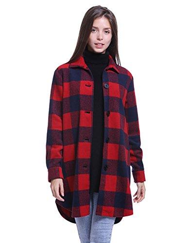 Fancyqube Women's Button Down Checkered Buffalo Plaid Coat Red XL (Plaid Coat Buffalo)
