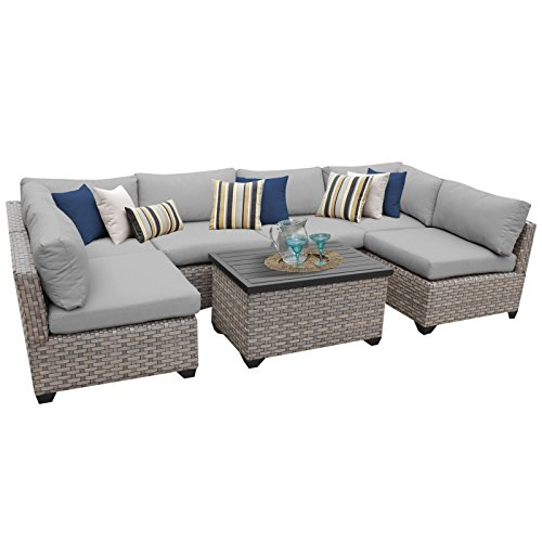 TK Classics MONTEREY-07a-GREY Monterey 7 Piece Outdoor Wicker Patio Furniture Set, Grey