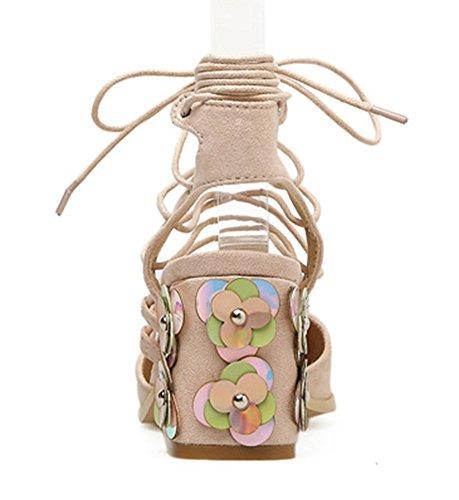 Römersandale mit Blockabsatz Geschlossen Aprikosenfarben Spitz Zehen Sexy Damen Blumen Schnürung Aisun 4w8qY0IZ