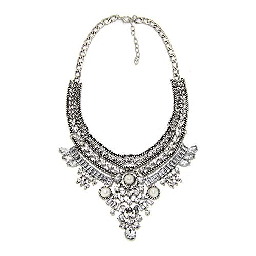efigo Fashion Statement Necklace Choker Collar Bib Necklace Bohemian Pearls Necklace Costume Jewelry for Women Girls (Silver&Pearls)