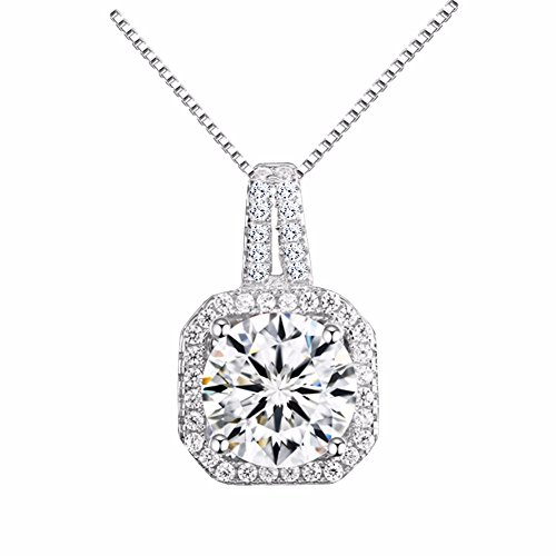 Hollywood Sensation Women Pendant Necklaces : Round Cut Cubic Zirconia18k White Gold Plated+Natural Mink Mega Volume Eyelashes+Travel Size 4 Pieces Makeup Brushes,Gift for Her by Hollywood Sensation (Image #1)