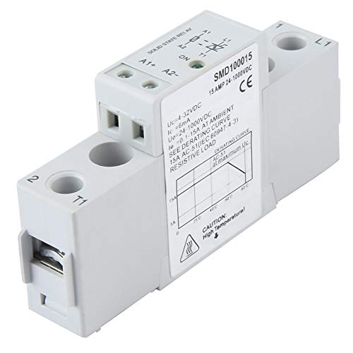 Solid State Relay, SMD100015 24-1000VDC 15A DC Control DC Single Phase DIN Rail Slim Solid State Relay Module & Board for Temperature Controller Mechanical Contactor
