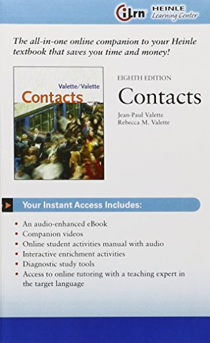 iLrn™ Heinle Learning Center Printed Access Card for Valette/Valette's Contacts: Langue et culture françaises, 8th