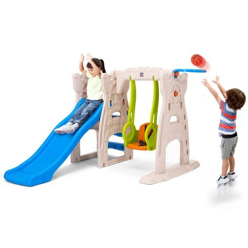 Grow'n Up Scramble 'n' Slide Play Centre | Kids Garden Playground with 4 feet Slide, Swing, Basketball Hoop and Football Net | Garden Play Activity Gym for Toddlers | Grow'n Up