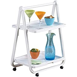 Folding Plastic Beverage Cart Rolling Compact Two-Tier Tray on Wheels
