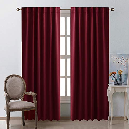 Curtain Panels Hanging (NICETOWN Burgundy Curtains Blackout Draperies Panels - (Burgundy Red Color) for Christmas & Thanksgiving Gift, 52
