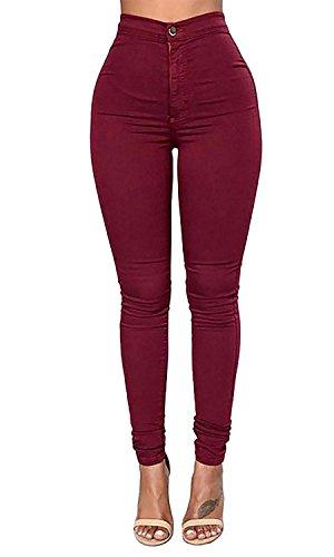 LooBoo Donna A vita alta Leggings Elastico Skinny Jeans Pantaloni in Denim Lunghi Matita Pantaloni Jeggings Stretch Skinny Jeans Fitness Vino Rosso