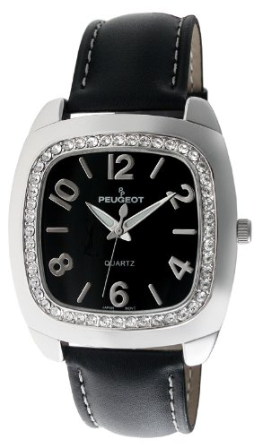 Brass Tone Crystals - Peugeot Women's 310BK Silver-Tone Swarovski Crystal Accented Black Leather Strap Watch