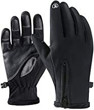 Winter-Warming Wool Touch Screen Gloves, Gloves for Men and Women Cycling MTB Sports Gloves Non-Slip Compatibl