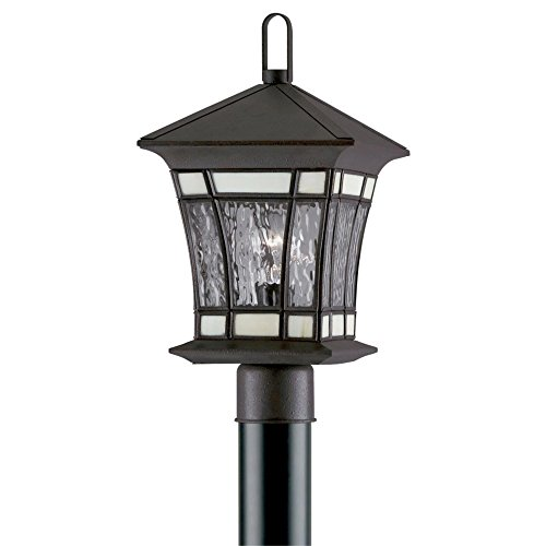 Westinghouse Lighting 6486600 One-Light Post-Top Exterior Lantern, Textured Rust Patina on Solid Brass and Steel with Water Glass and Tiffany Accents (Brass Outdoor Westinghouse Solid Fixtures)