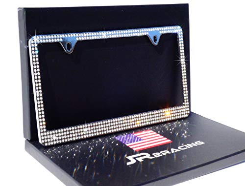 - JR2 Pure Handmade Super Bling 6 Rows White/Clear Real Crystal Rhinestone Embedded Metal Chrome License Plate Frame+Free Caps
