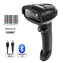 NETUM Bluetooth CCD Barcode Scanner Wireless Barcode Reader Handheld USB 1D Bar Code Imager for Mobile Payment Computer Screen Scan for POS Android iOS iMac Ipad SystemNT-1228BC